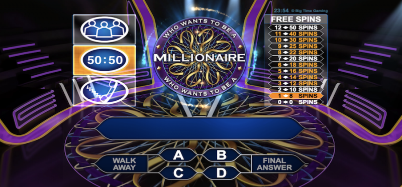who wants to be a millionare megaways slot machine
